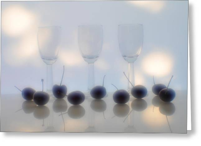 Wine-bottle Glass Greeting Cards - Wine glasses and berries Greeting Card by   larisa Fedotova