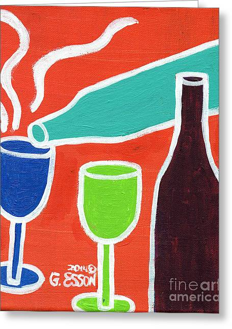Beautiful Wine Grape Print Greeting Cards - Wine Glasses and Bottles With Orange Background Greeting Card by Genevieve Esson