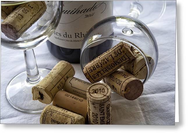 South Of France Greeting Cards - Wine Glasses and Corks  Greeting Card by Nomad Art And  Design
