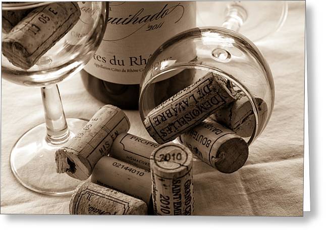 South Of France Greeting Cards - Wine Glasses and Corks toned Greeting Card by Nomad Art And  Design