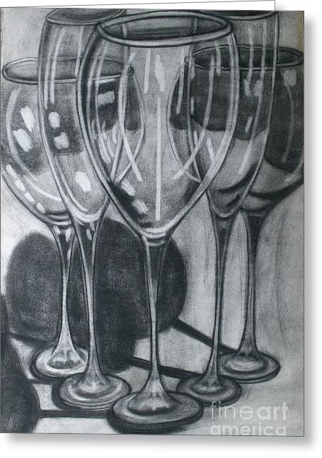 Goblet Drawings Greeting Cards - Wine Glasses Greeting Card by Cecilia Stevens