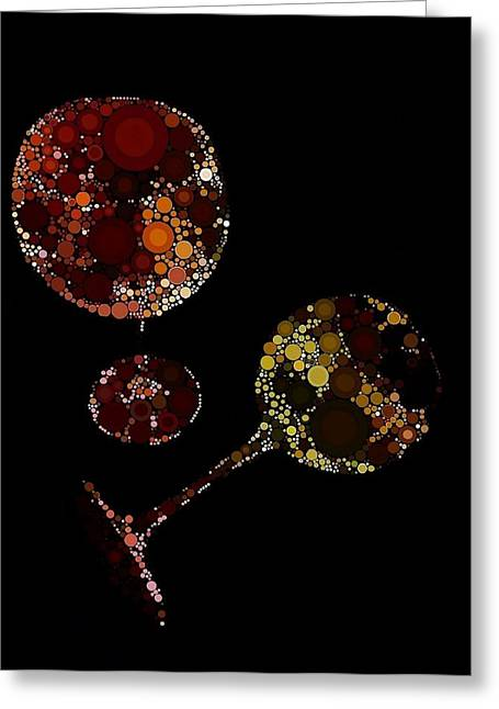 Wine Grape Print Greeting Cards - Wine Glasses  Greeting Card by Cindy Edwards