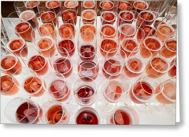 Pink Food Photography Greeting Cards - Wine Glasses, Dinner Cruise, Reykjavik Greeting Card by Panoramic Images