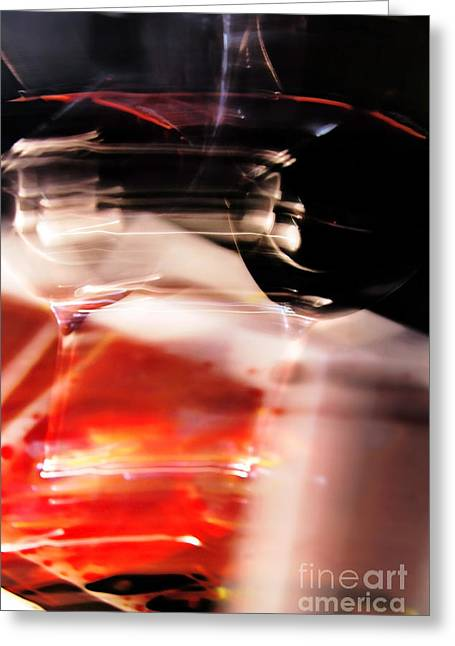 Red Wine Prints Greeting Cards - Abstract Still Life- Wine Glasses Greeting Card by Feryal Faye Berber