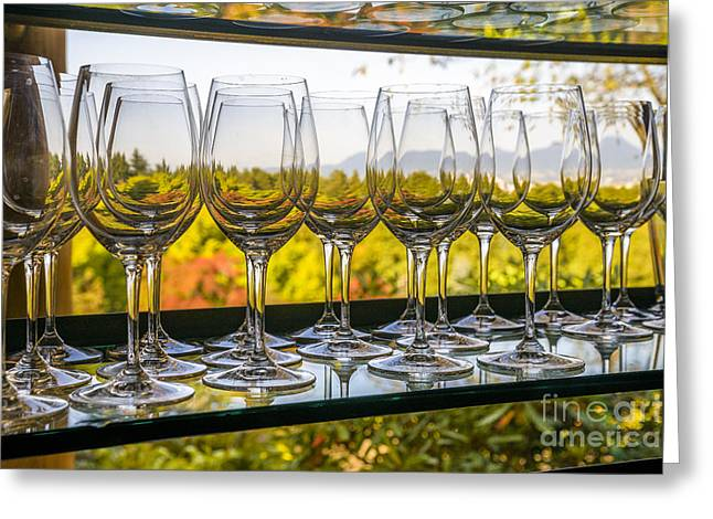 Long Stem Wine Glass Photographs Greeting Cards - Wine glasses in a row Greeting Card by Michael Wheatley