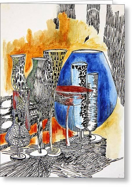 Wine-glass Drawings Greeting Cards - Wine Glasses Greeting Card by Kah Wah Tan