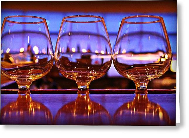 Wine-glass Glass Art Greeting Cards - Wine Glasses Greeting Card by Stephanie Leidolph