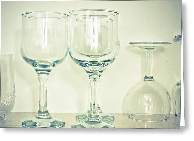 Champagne Glasses Greeting Cards - Wine glasses Greeting Card by Tom Gowanlock