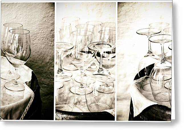 Wine Reflection Art Greeting Cards - Wine Glasses Triptych Greeting Card by Nomad Art And  Design