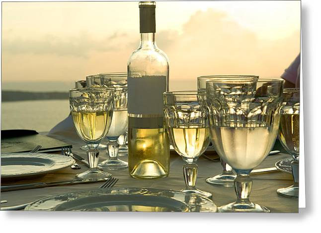 Wine Bottle Images Greeting Cards - Wine Glasses With A Wine Bottle Greeting Card by Panoramic Images