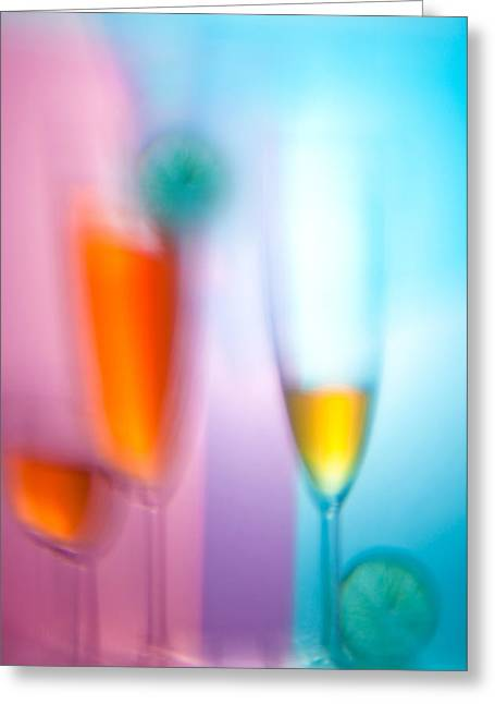Distortion Glass Art Greeting Cards - Wine glasses with drinks   Greeting Card by   larisa Fedotova
