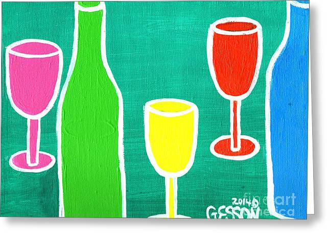 Purple Grapes Greeting Cards - Wine Glasss and Bottles with Green Background Greeting Card by Genevieve Esson