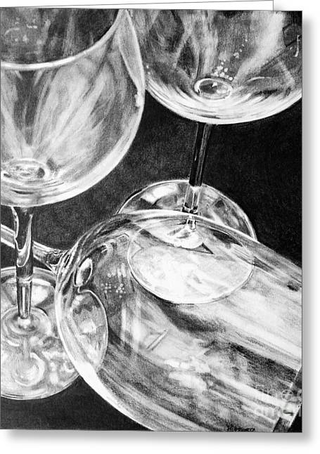 Wine-glass Drawings Greeting Cards - Wine Goblets Greeting Card by Mark Hufford