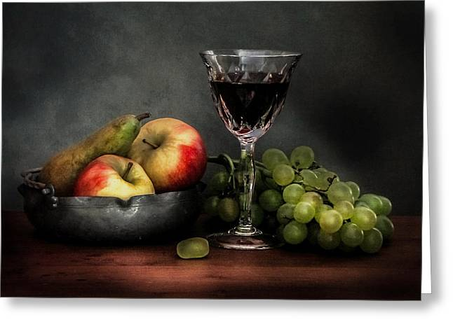 Fruit And Wine Greeting Cards - Wine grapes and autumn fruit Greeting Card by Hugo Bussen