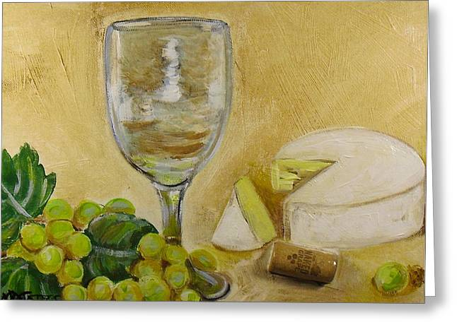 Wine Grapes And Cheese Greeting Card by Melissa Torres