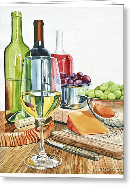 Concord Grapes Paintings Greeting Cards - Wine Grapes and Cheese Greeting Card by Rick Mock