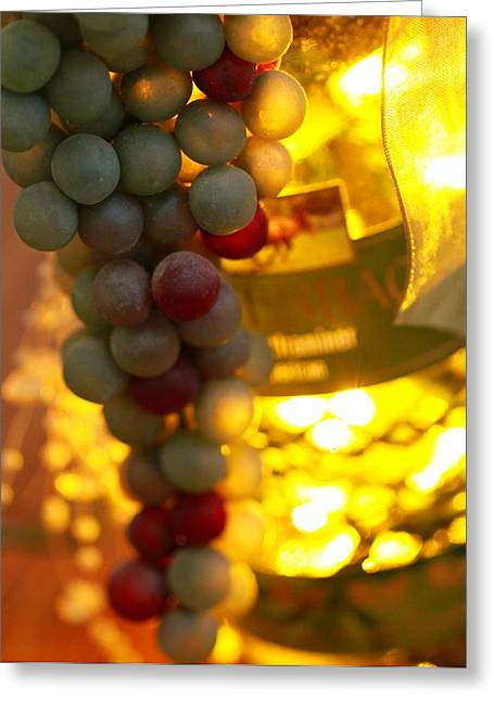 Wine Shop Greeting Cards - Wine Grapes Bokeh Greeting Card by Dan Sproul