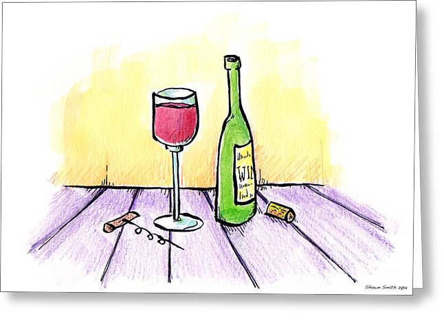 Unwind Drawings Greeting Cards - Wine Illustration Greeting Card by Shawn Smith