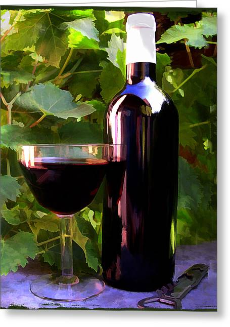 Wine In The Sunset Greeting Card by Elaine Plesser