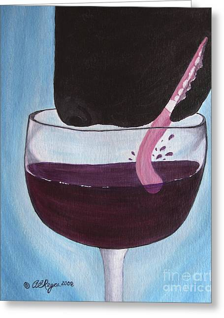 Red Wine Prints Greeting Cards - Wine Is Best Shared With Friends - Black Dog Greeting Card by Amy Reges