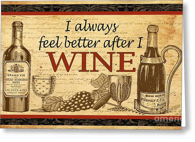 Grape Leaves Digital Art Greeting Cards - Wine-JP1581B Greeting Card by Jean Plout