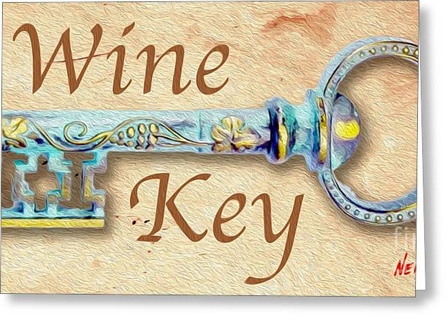 White Grape Mixed Media Greeting Cards - Wine Key Painting  Greeting Card by Jon Neidert