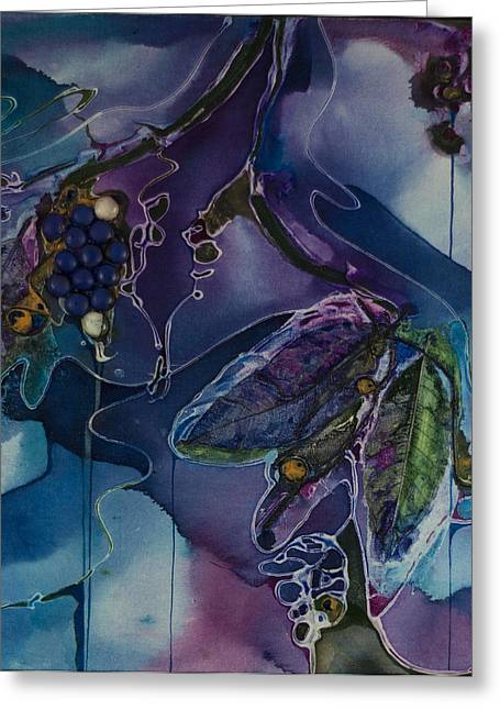Grape Leaves Mixed Media Greeting Cards - Wine Line Greeting Card by Pat Purdy