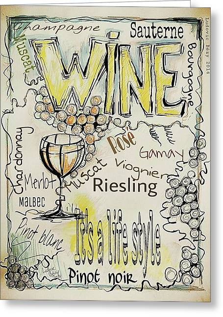Pinot Mixed Media Greeting Cards - Wine Greeting Card by Ludovic  Bezy