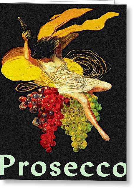 Prosecco Greeting Cards - Wine Maid Prosecco Poster Greeting Card by Jerry Schwehm