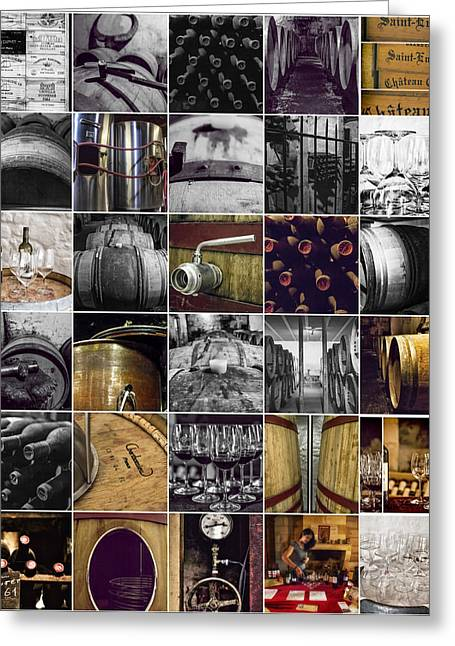 Wine Bottle Images Greeting Cards - Wine Making Collage Greeting Card by Nomad Art And  Design
