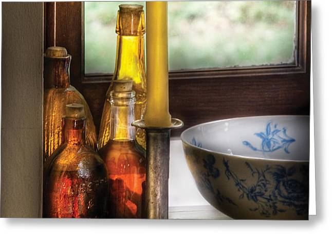 Wine - Nestled in a corner of a window sill  Greeting Card by Mike Savad