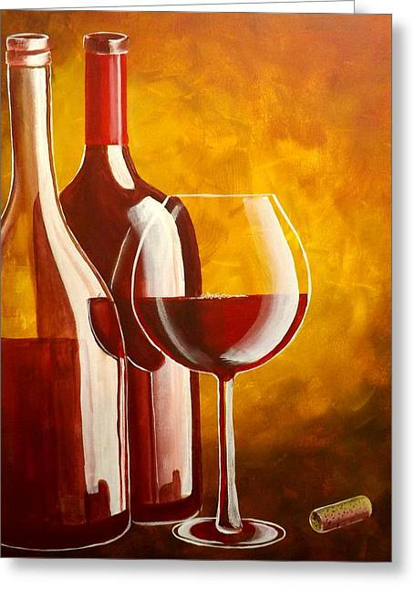 Red Wine Bottle Greeting Cards - Wine Not Greeting Card by Darren Robinson
