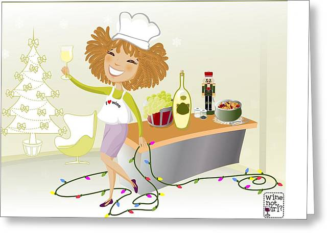 Sauvignon Digital Art Greeting Cards - Wine Not Girl? White wine Greeting Card by Andrea Ribeiro