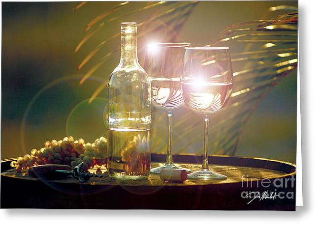 Red Wine Bottle Mixed Media Greeting Cards - Wine on the Barrel Greeting Card by Jon Neidert
