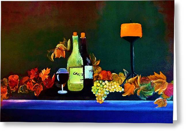 Candle Lit Greeting Cards - Wine On The Mantel Greeting Card by Lisa Kaiser