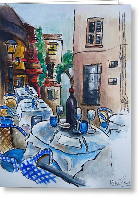 Wine Scene Mixed Media Greeting Cards - Wine on the Table Greeting Card by Helen J Pearson
