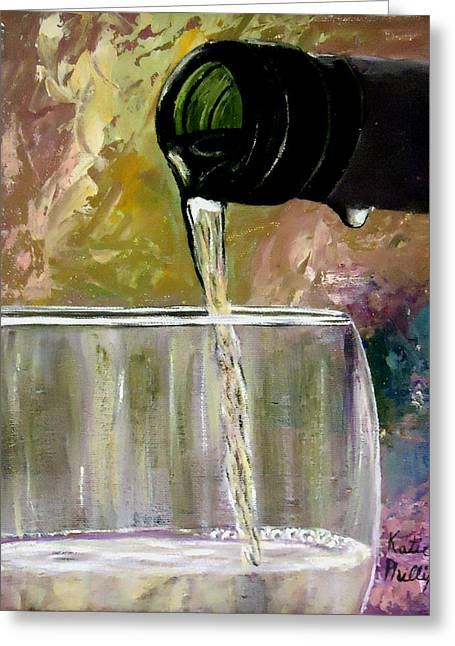 Wine Pour Paintings Greeting Cards - Wine painting - Pour Greeting Card by Katie Phillips
