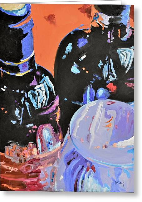 Red Wine Bottle Greeting Cards - Wine Party Greeting Card by Donna Tuten