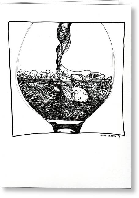 Wine Pouring Drawings Greeting Cards - Wine Pour Greeting Card by Andrea Cook