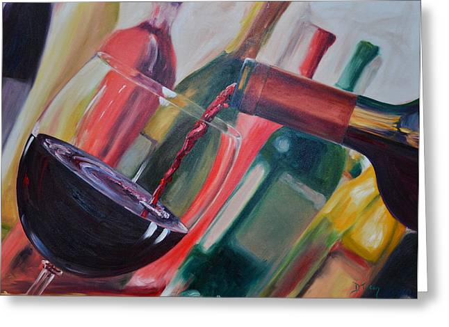 Wine Pour Greeting Cards - Wine Pour III Greeting Card by Donna Tuten