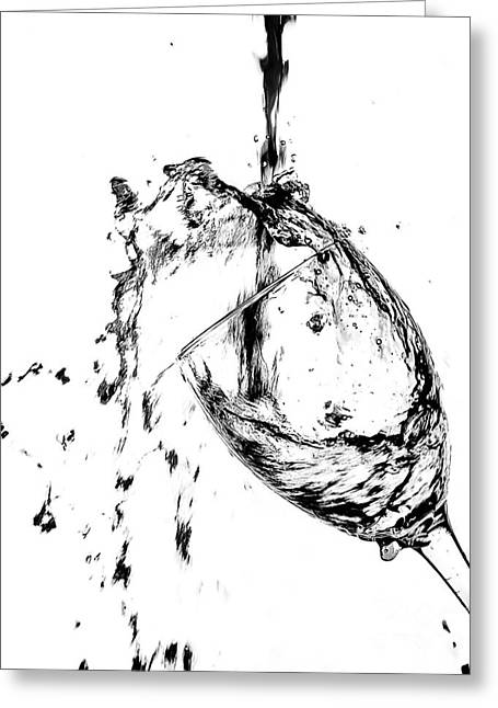 Wine Deco Art Photographs Greeting Cards - Wine Pour Splash in Black and White 2 Greeting Card by JC Kirk
