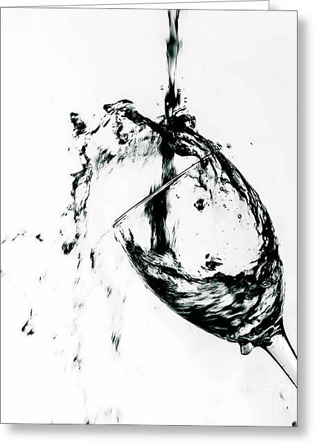Wine Deco Art Photographs Greeting Cards - Wine Pour Splash in Black and White Greeting Card by JC Kirk