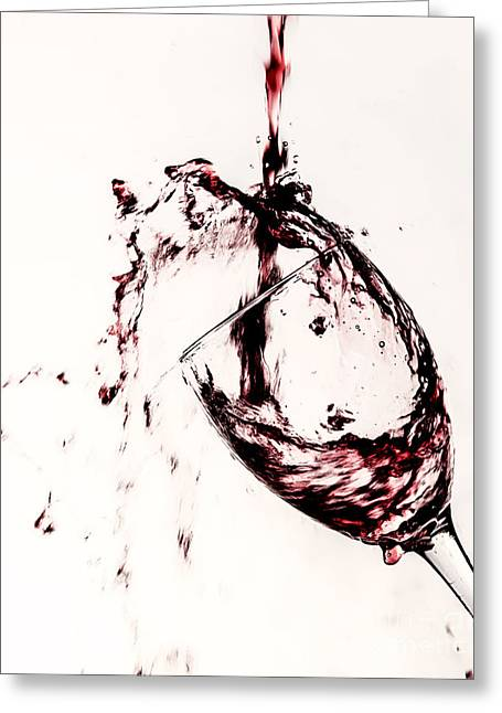 Wine Deco Art Photographs Greeting Cards - Wine Pour Splash in Color 2 Greeting Card by JC Kirk