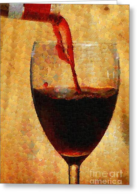 Pouring Wine Digital Art Greeting Cards - Wine pouring into glass painting Greeting Card by Magomed Magomedagaev
