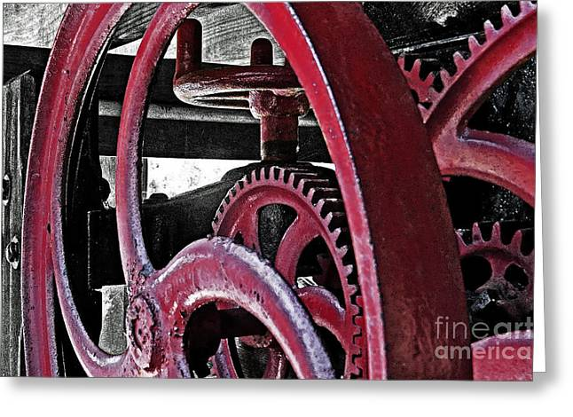 Mechanism Photographs Greeting Cards - Wine Press Gears Greeting Card by Dawn Gari