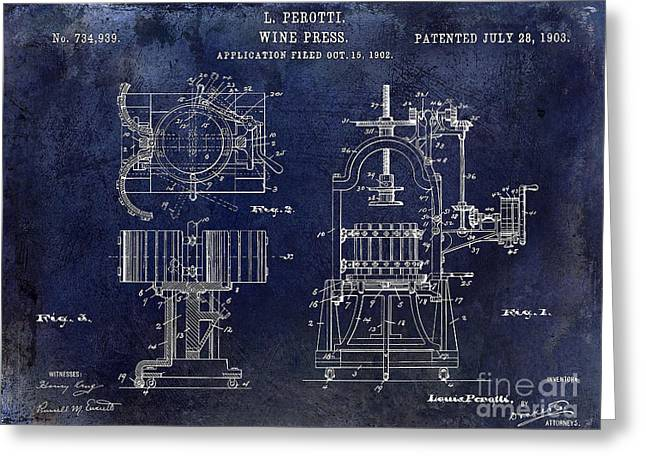 Merlot Greeting Cards - Wine Press Patent 1903 Blue Greeting Card by Jon Neidert
