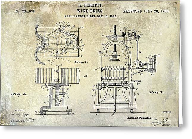 Red Wine Bottle Greeting Cards - Wine Press Patent 1903 Greeting Card by Jon Neidert