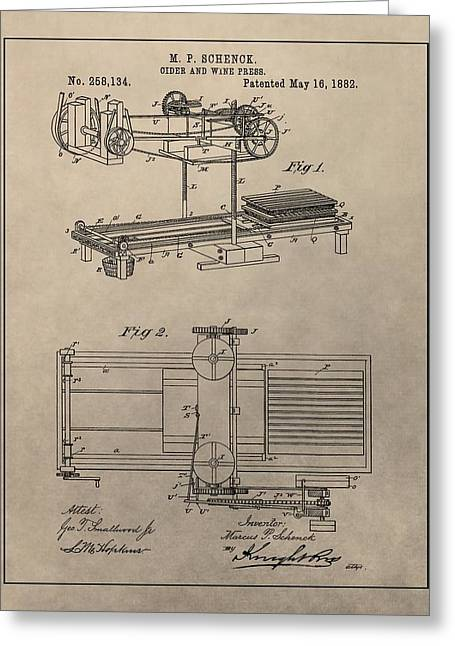 Wine Press Patent Greeting Card by Dan Sproul