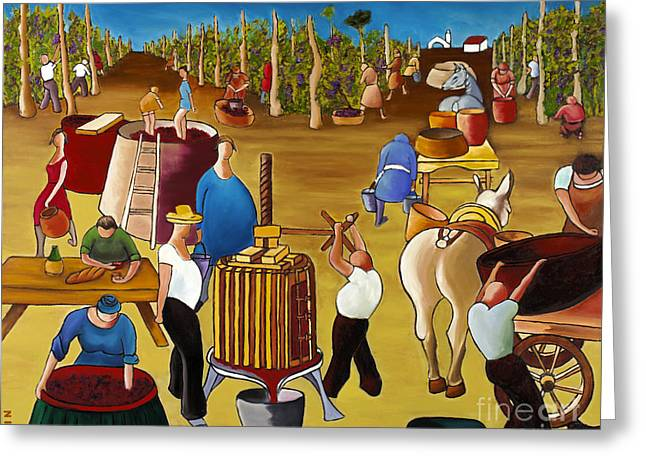 William Cain Greeting Cards - Wine Pressing 2  Greeting Card by William Cain