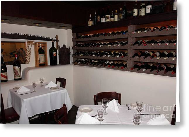 Wine Rack Greeting Cards - Wine Rack And Dining Tables In The Private Dining Room At the Swiss Hotel Sonoma California 5D24463 Greeting Card by Wingsdomain Art and Photography